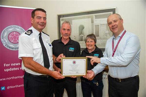 2019 Road funding award l-r - Chief Constable Nick Adderley, Group Chair John Norrie, me (Henny Cameron) and PFCC Stephen Mold