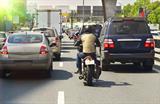 Motorbike filtering traffic