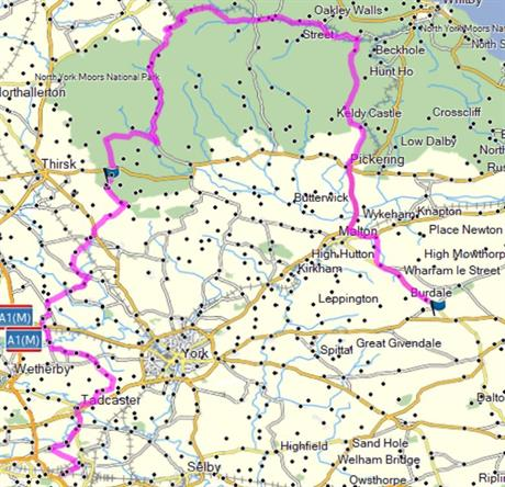 Route Squires to Fimber via Lealholme